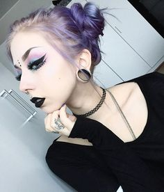 Feeling sick so have an oldie 👽🦄 Dark Beauty, Gothic Beauty, Makeup Inspo, Makeup Inspiration, Makeup Ideas, Eye Makeup, Hair Makeup, Beauty Makeup, Goth Glam