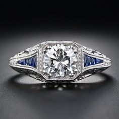 .97 Carat Diamond and Sapphire Art Deco Style Engagement Ring in Platinum