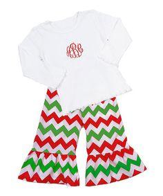 Look at this #zulilyfind! White Monogram Tee & Red Chevron Ruffle Pants - Toddler & Girls #zulilyfinds