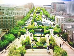 architect fernando romero has revealed plans for a linear park to be built on avenida chapultepec, one of mexico city's oldest street. Cultural Architecture, Landscape Architecture, Urban Landscape, Landscape Design, Parque Linear, Green Corridor, Linear Park, City Road, Urban Park