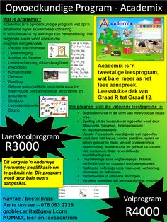 Academix is 'n tweetalige leesprogram, wat baie  meer as net lees aanspreek.   Leesstukke dek van Graad R tot Graad 12. Baby Boom, Toy Sale, As, Teaching, Afrikaans, Education, Words, School, Program Management