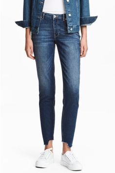Straight Cropped Jeans - Ciemnoniebieski denim - ONA | H&M 129.90