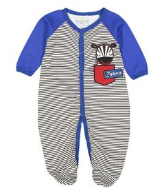 Love this Navy Pocket Zebra Footie on #zulily! #zulilyfinds