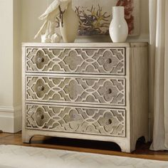 Lowest price online on all Hooker Furniture Sanctuary Fretwork Accent Chest in Pearl Essence - 3023-85001