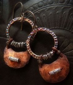 Earrings | Lynn Ferro.  Sterling silver, copper, leather and oxidized sterling silver ear wires.