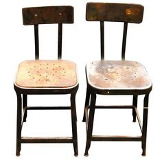 Vintage Industrial Metal Stools - A Pair on Chairish.com