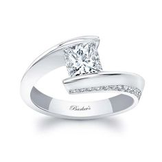 Barkev's White Gold Princess Cut Engagement Ring 8163L | Barkev's Engagement Rings Sale, Princess Cut Engagement Rings, Beautiful Engagement Rings, Princess Cut Diamonds, White Gold Rings, Colored Diamonds, Ring Designs, Stunningly Beautiful, Moissanite