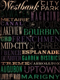 All the amazing neighborhoods, streets and regions collectively known as NOLA. :)