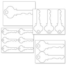 Key hole pattern. Use the printable outline for crafts