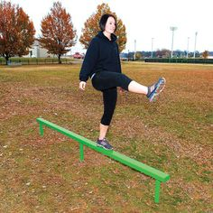 The balance beam station is a simple yet effective exercise station that can provide up to 8 different outdoor exercises of varying degrees of difficulty. It is a powder coated in-ground mounted balance beam and can accommodate multiple age levels. Outdoor Fitness Equipment, No Equipment Workout, 20 Lb Kettlebell, Weighted Jump Rope, Dumbbell Rack, Indoor Gym, Balance Beam, Strength Training Workouts, Gym Membership