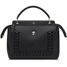 Fendi Dotcom Medium Whipstitch Satchel Bag ($2,900) ❤ liked on Polyvore featuring bags, handbags, black, fendi purses, fendi, satchel purses, flat purse and fendi satchel