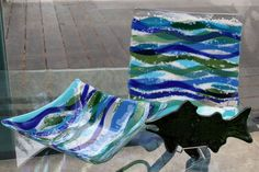 12 inch bowl, 12 inch Sushi Plate and a green fish--Donated to Local charity Fundraiser.