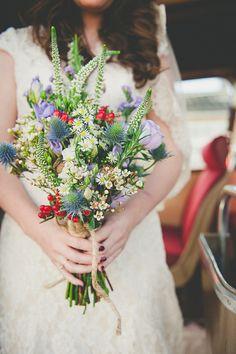 whimiscal colourful wedding flowers bouquet, image by Ellie Gillard www.elliegillard.com