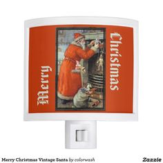 "Merry Christmas Vintage Santa Night Light - Bring a little old-fashioned Christmas spirit into all your rooms using this night light decorated with a vintage painting of Santa Claus filling Christmas stockings at a hearth. Even ""Merry Christmas"" has that old-fashioned charm. #Christmas #Santa"