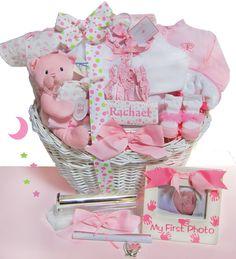 Elegant Beginnings Luxury Personalized Baby Gift Basket