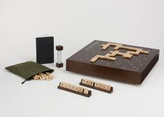 Scrabble Typography Edition 2, developed in partnership with Winning Solutions + Hasbro comes with a walnut cover featuring a Scrabble Typography gameplay surface that sits on a built-in Lazy Susan for easy positioning. The set comes with 100 solid maple tiles that include 15 new typefaces and each set comes with a signed and numbered certificate.