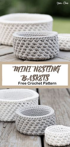 Mini Nesting Baskets Free Crochet Pattern Nautical Basket Crochet Free Pattern is a great project for nautical decor lovers. Super easy to crochet for beginner and really stiff and sturdy. Crochet Storage, Crochet Diy, Crochet Gratis, Crochet Fabric, Crochet Home Decor, Crochet Things, Crochet Basket Pattern, Easy Crochet Patterns, Crochet Stitches