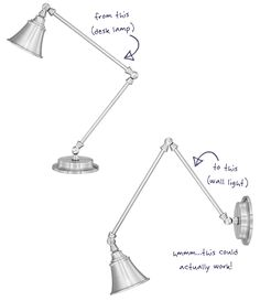 Converting a Desk Lamp to a Wall Sconce http://thepaintedhive.net/2014/09/a-desk-lamp-becomes-a-wall-light/