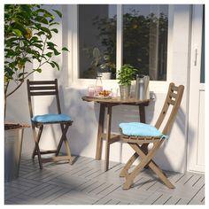ASKHOLMEN Wandtisch+2 Klappstühle/außen graubraun lasiert, Kuddarna