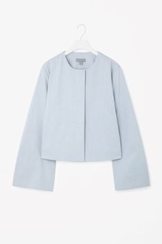 Cropped blazer with topstitch detail