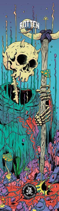 Rotten Series, for Woodlight Skateboards Trippy Wallpaper, Skull Wallpaper, Art And Illustration, Arte Inspo, Skeleton Art, Arte Obscura, Wow Art, Arte Pop, Psychedelic Art