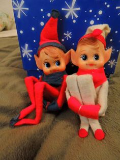 Elf on the Shelf for 2015 Christmas Season with Vintage Pixie Elves - Set of 2 by hellonikita on Etsy
