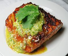 Bobby Flay's barbecued mahi-mahi with yellow pepper-cilantro pesto ~ so going to make this when we go to Maui next winter.  Made this year; definitely needs the pesto topping.