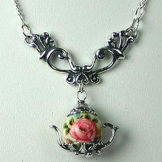 "Tiny teapot necklace--19.5"" Japanese Pink Teapot Victorian Dangle Necklace"