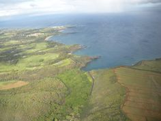 View of Maui from the helicopter looking down towards La Perouse Bay with the lava fields in the distance.