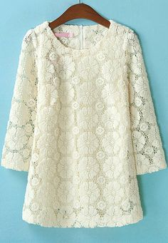 Apricot Long Sleeve Embroidered Loose Lace Blouse - Sheinside.com