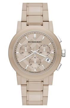Burberry Check Stamped Chronograph Ceramic Bracelet Watch, 38mm available at #Nordstrom