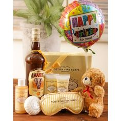Luxurious Birthday Pamper Gift Set with Amarula Cream and a Balloon! International Florist, Happy Birthday Foil Balloons, Cute Teddy Bears, Gift Hampers, Goodie Bags, Keepsake Boxes, Bath And Body, Goodies, Chocolate