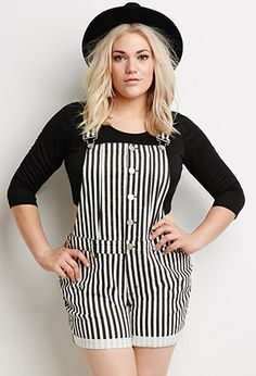 3x // Striped Overall Shorts | Forever 21 PLUS - 2000097370