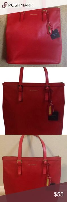 Red Tote Handbag Lovely blood red Cynthia Rowley New York Tote Bag with gold hard wear. Has been used a couple times and shows a little wear signs. Cynthia Rowley Bags Shoulder Bags