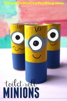 Toilet Paper Roll Minions Idea - Despicable Me Movie Inspired - Simple Kid Craft Tutorial TWO Impressive Minion Inspired Kid Crafts - check out our simple tutorial to make cardboard tube minions and footprint minion artwork today! Paper Towel Roll Crafts, Toilet Paper Roll Crafts, Paper Crafts For Kids, Cardboard Crafts, Easy Crafts For Kids, Summer Crafts, Toddler Crafts, Diy For Kids, Kid Crafts