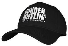 28487c48 DUNDER MIFFLIN PAPER COMPANY INC - Embroidered Cotton Twill Baseball Cap Hat  (Black) at Amazon Men's Clothing store:
