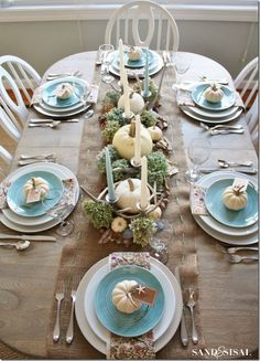 sand and sisal- beachy Thanksgiving table