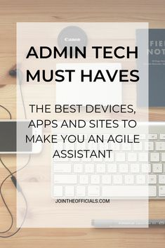 Admin Assistant Tech Must Haves - office organization business Small Business Organization, Office Organization At Work, Organization Hacks, Organizing, Office Assistant, Virtual Assistant, Personal Assistant Duties, Apps, Office Admin