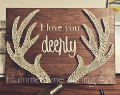 I love you Deerly Antlers String Art decor