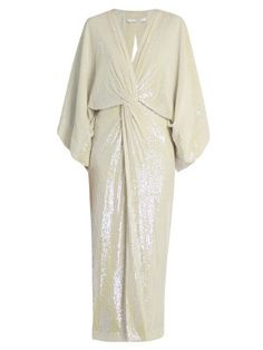Diane Von Furstenberg Jesse Gown In Opal White Dress With Sleeves, White Sequin Dress, Sequin Gown, Silver Sequin, Chiffon Gown, Drape Gowns, Draped Dress, Ruched Dress, White Ball Gowns