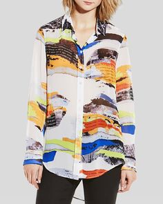 5038956bf3c72 Two by VINCE CAMUTO Collage Print Blouse Women - Tops - Bloomingdale s