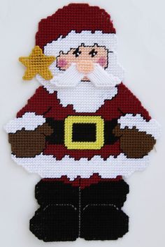 Plastic Canvas-Country Santa Claus