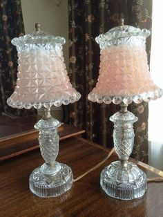 Antique Vintage Pink Satin Glass Crystal Candlewick Art Deco Boudoir Table Lamps