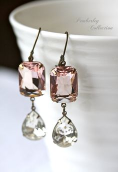 Estate Style Earrings, Blush Earrings, Vintage Tear Drop Crystal, Vintage Style on Etsy, $34.00