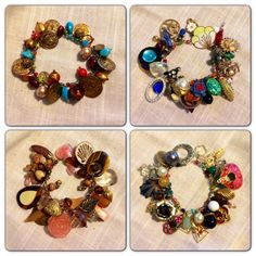 Charm Bracelets from Upcycled Vintage Jewelry