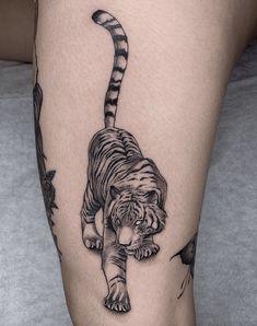 Tiger Tattoo Small, Japanese Tiger Tattoo, Tiger Tattoo Design, Tattoo Designs, Small Tattoos, Tiger Tattoo Back, White Tiger Tattoo, Unique Tattoos, Time Tattoos
