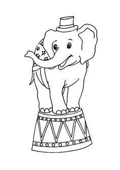 Le Petit Elephant De Cirque Montant Sur Son Estrade A Colorier