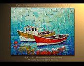 Ready to ship Boats ORIGINAL Abstract Oil Painting Heavy Palette Knife Texture by Paula Nizamas Ready to Hang