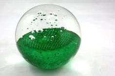 25% Off SHOP SALE, Large Vintage BOHEMIAN Bright Green Glass Paperweight. Bubbles Bubbles. Artcristal. on Etsy, $38.00