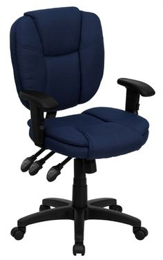 Flash Furniture Mid Back Fabric Task Chair with Arms in Navy Blue